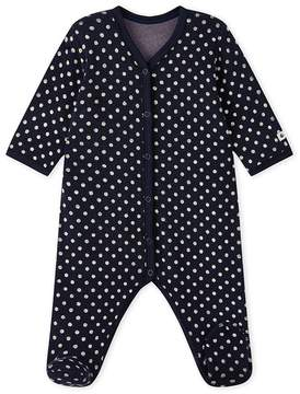 Petit Bateau BABY GIRLS 1-PIECE PAJAMA IN TERRYCLOTH BOUCLETTE WITH POLKA DOTS