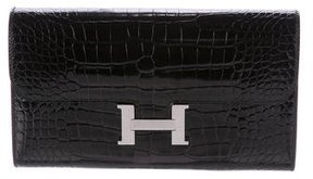 Hermes Shiny Alligator Constance Long Wallet - BLACK - STYLE