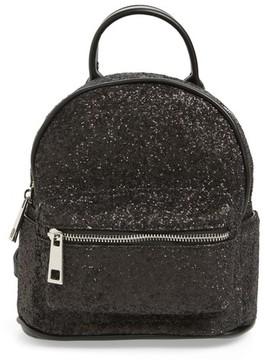 Street Level Glitter Zip Backpack - Black
