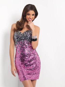 Blush Lingerie 9441 Sparkling Strapless Sheath Cocktail Dress