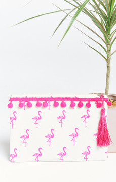 Flamingo Clutch Bag with Tassel ~ Beige/Pink