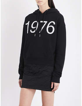 Boy London Ladies Black Printed Vintage Cotton-Jersey Hoody