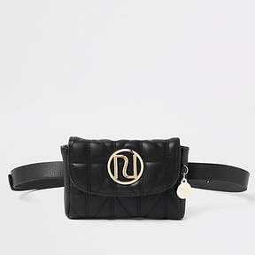 River Island Black quilted RI belt bum bag