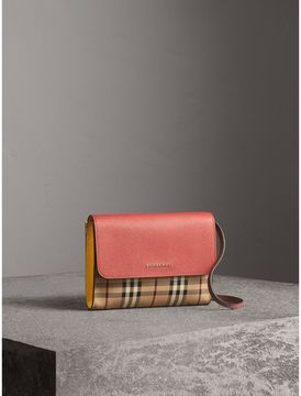 Burberry Haymarket Check and Leather Crossbody Bag - CINNAMON RED/MULTI - STYLE