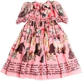 Dolce & Gabbana Cats Printed Silk Chiffon Long Dress