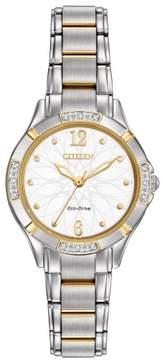 Citizen Eco-Drive EM0454-52A White/Silver Analog Women's Watch