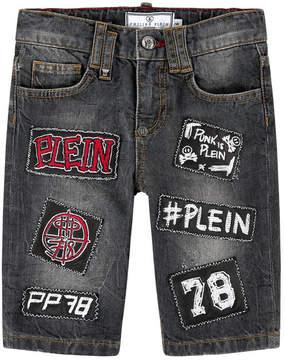 Philipp Plein Jean bermudas with patches