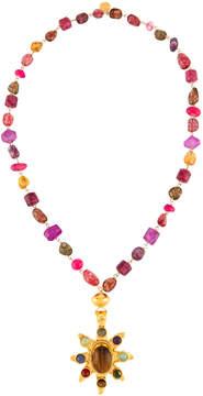 Devon Leigh Long Multihued Beaded Sunburst Pendant Necklace