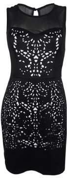 GUESS Women's Sleeveless Laser Cut Dress (10, Black)