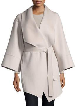 Neiman Marcus Luxury Double-Faced Cashmere Kimono Wrap Coat