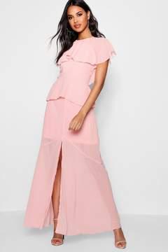 boohoo Cape Chiffon Tierred Maxi Dress
