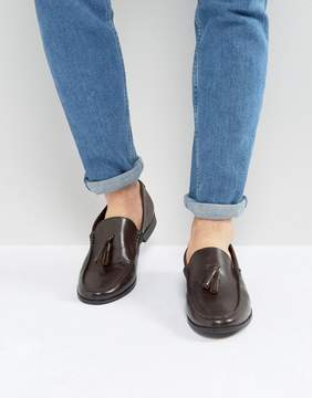 Frank Wright Tassel Loafers In Brown Leather
