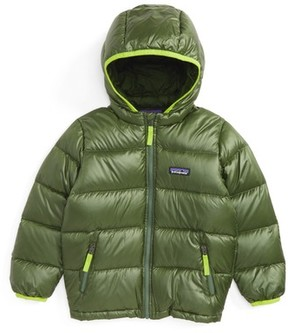 Patagonia Toddler Boy's Reversible Water Resistant 600-Fill Power Down Sweater Hoodie