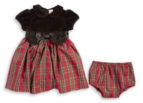 Little Me Baby Girl's Two-Piece Plaid Velvet Dress and Panty Set