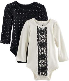 Baby Starters Baby Girl 2-pk. Lace Print Bodysuits