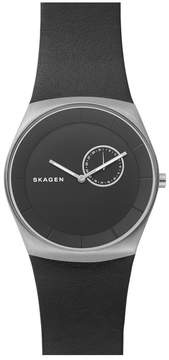 Skagen Men's Havene Black Leather Watch, 42mm