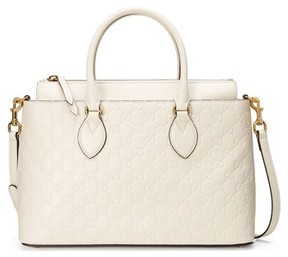 Gucci Small Top Handle Signature Leather Satchel - White - BLACK - STYLE