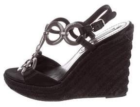 Celine Satin Wedge Sandals