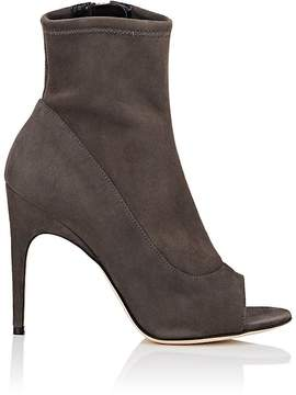 Sergio Rossi WOMEN'S OPEN-TOE STRETCH-SUEDE ANKLE BOOTS