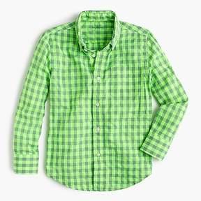 J.Crew Kids' Secret Wash shirt in neon gingham
