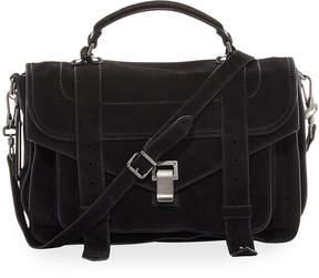 Proenza Schouler PS1 Medium Suede Satchel Bag, Black