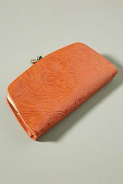 Hobo Embossed Leather Push Lock Wallet