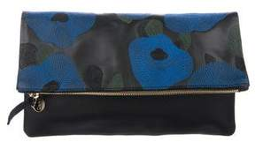 Clare Vivier Embroidered Poppy Fold-Over Clutch