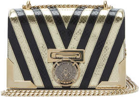 Balmain Striped Metallic Textured-Leather Shoulder Bag