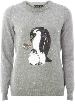 Dorothy Perkins Grey Sequin Pearl Penguin Jumper