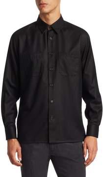 Luciano Barbera Men's Black Overshirt with Suede Undercollar