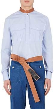 Loewe Men's Leather-Collar Cotton Military Shirt