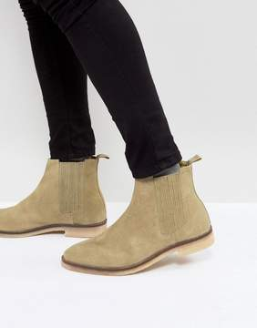 Asos Chelsea Boots In Stone Suede With Natural Sole