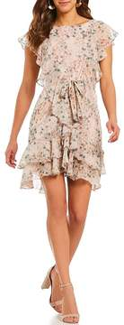 Chelsea & Violet Floral Printed Metallic Tiered Ruffle Tie Front Dress