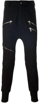 Pierre Balmain zip detail slim fit tapered trousers