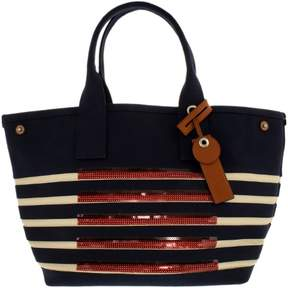 Marc by Marc Jacobs Marc by Jacobs Women's St Tropez Beach Cotton Top-Handle Bag Tote - New Prussian Blue/Ecru - NEW PRUSSIAN BLUE/ECRU - STYLE