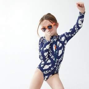 J.Crew Girls' long-sleeve one-piece swimsuit in tie-dye