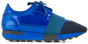 Balenciaga Blue Patent Race Runner sneakers
