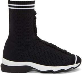 Fendi Black Stretch Sock High-Top Sneakers