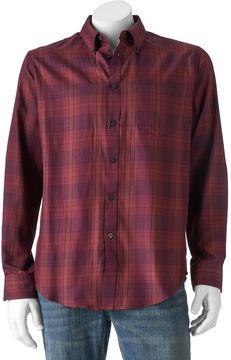 Van Heusen Shadow Plaid Casual Button-Down Shirt - Men