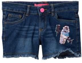 Betsey Johnson Sequin Applique Jean Shorts with Fringe Hem (Big Girls)