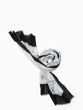 Map oblong scarf