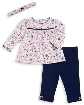 Little Me Baby Girl's Two-Piece Cotton Ditsy Tunic, Leggings and Floral Headband Set