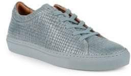 Aquatalia Alaric Striped Embossed Leather Sneakers