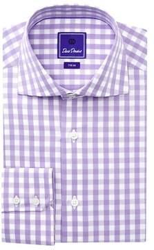 David Donahue Gingham Trim Fit Dress Shirt