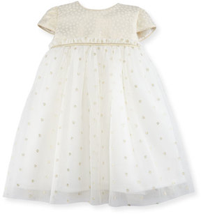 Luli & Me Empire-Waist Dotted Tulle Dress, Size 12-24 Months