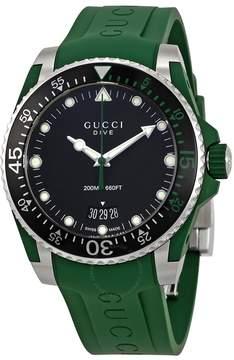 Gucci Dive Black Dial Green Rubber Men's Watch