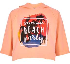 River Island Girls coral 'summer' print cropped hoodie