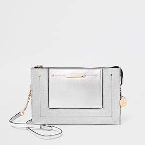 River Island Silver glitter panel chain cross body bag