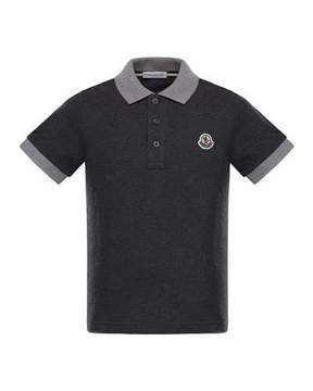 Moncler Maglia 2 Two-Tone Short-Sleeve Polo, Size 8-14