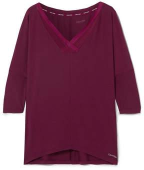 Calvin Klein Underwear Sculpted Mesh-trimmed Stretch-modal Pajama Top - Grape
